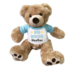 "Big Sister Teddy Bear - Personalized 13"" Honey Vera Bear Blue"