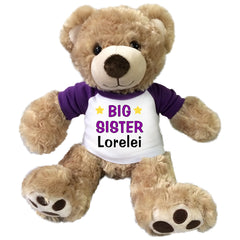 "Big Sister Teddy Bear - Personalized 13"" Honey Vera Bear Purple"