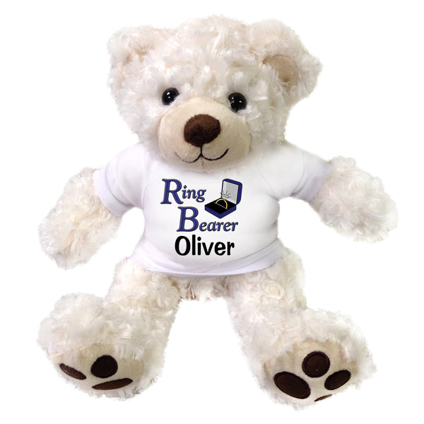 "Ring Bearer Teddy Bear -  Personalized 13"" White Vera Bear"