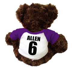 Back of Personalized Soccer Teddy Bear - Brown Vera Bear