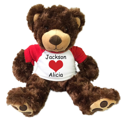 "Personalized Valentine Teddy Bear - 13"" Brown Vera Bear"