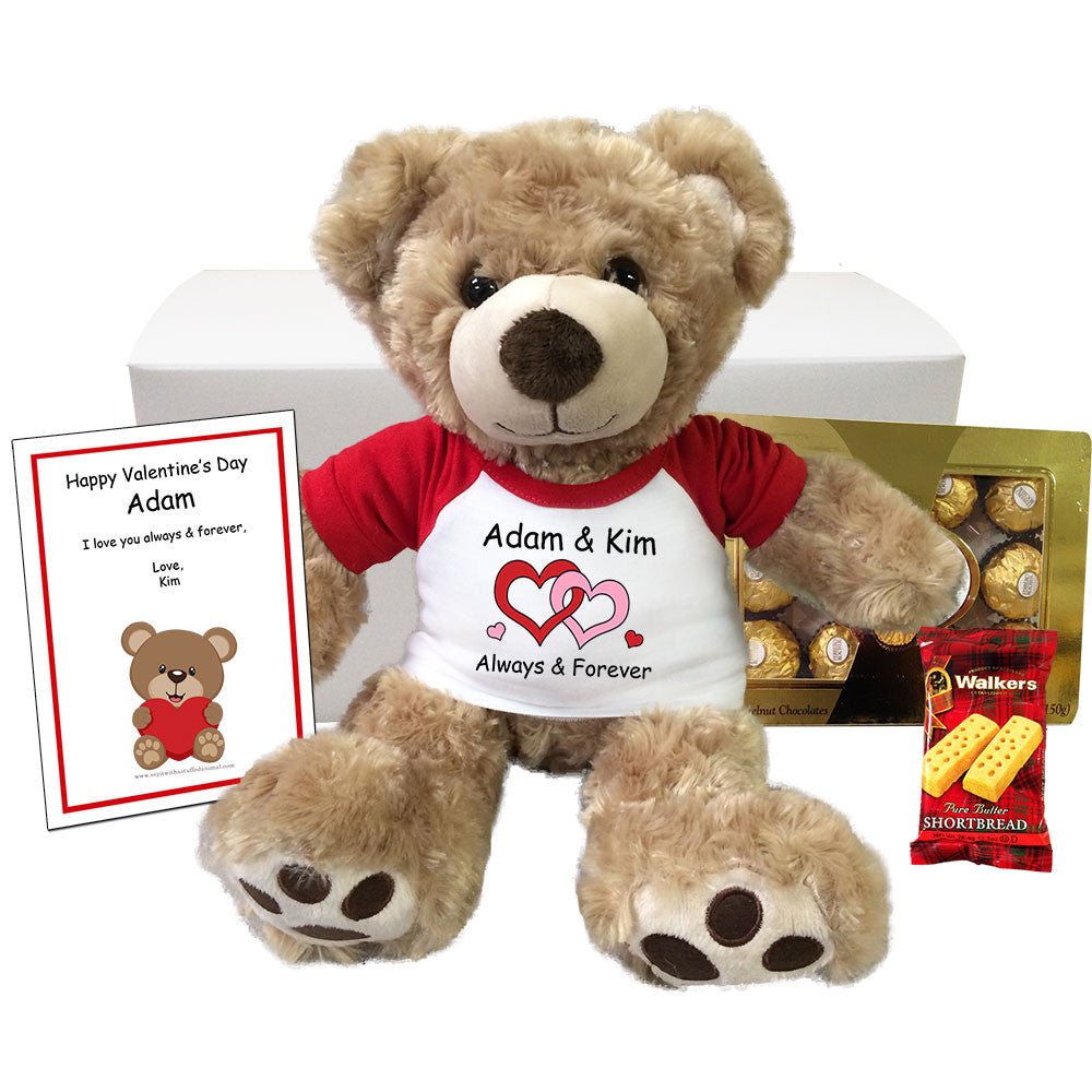 """Personalized Teddy Bear Valentines Gift Set - 13"""" Vera Bear – Mandys Moon Personalized Gifts"""