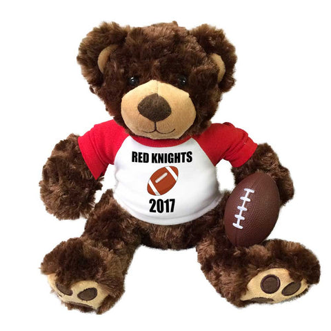 "Personalized Football Teddy Bear - 14"" Brown Vera Bear"