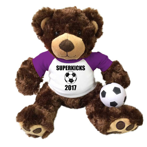 "Personalized Soccer Teddy Bear - 14"" Brown Vera Bear"