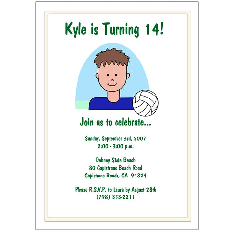 Volleyball Boy Birthday Party Invitation