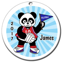 Personalized Volleyball Panda Christmas Ornament - Boy