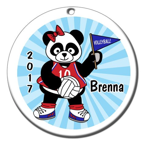 Personalized Volleyball Panda Christmas Ornament - Girl