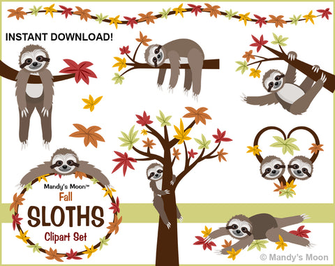 Sloths Fall Clipart Set