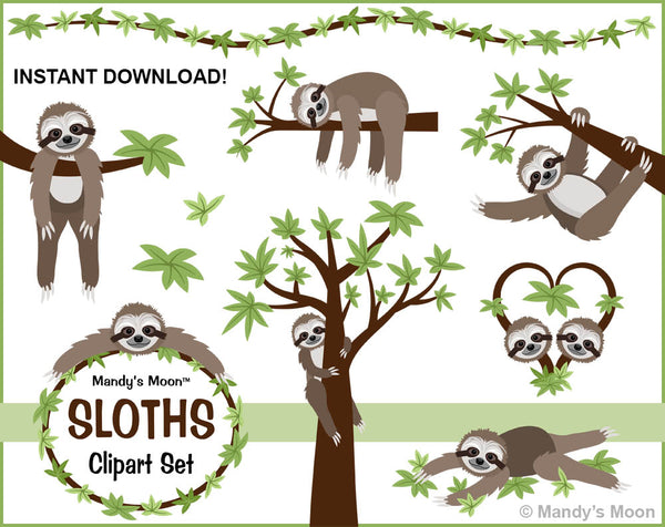 Sloths Clipart Set