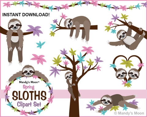 Sloths Spring Clipart Set