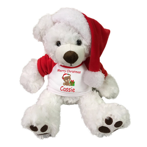 "Personalized Christmas Teddy Bear - 13"" White Vera Bear with Santa Hat"