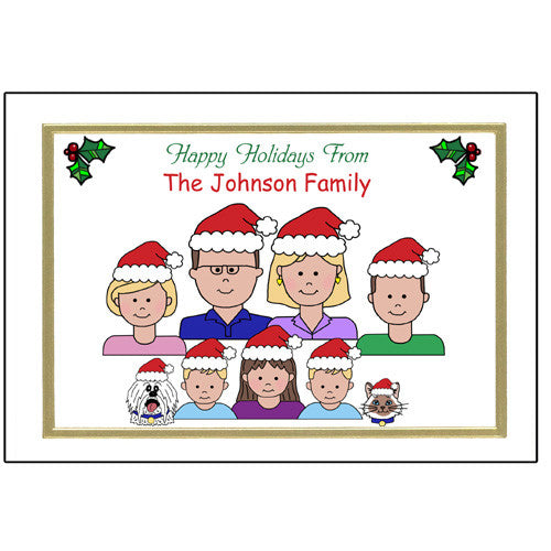 Cartoon Family Christmas Cards Large Family Personalized