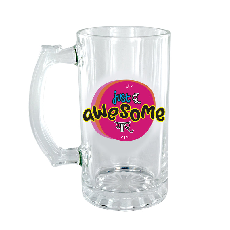 Too Awesome Yaar Clear Beer Mug