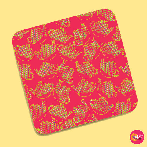 Quirky Teapots Coral Coasters