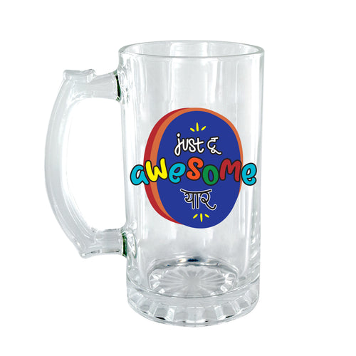 Just Too Awesome Clear Beer Mug