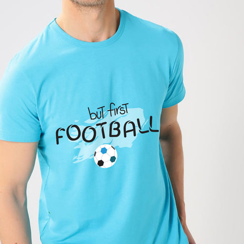 But First Football Cyan T-shirt