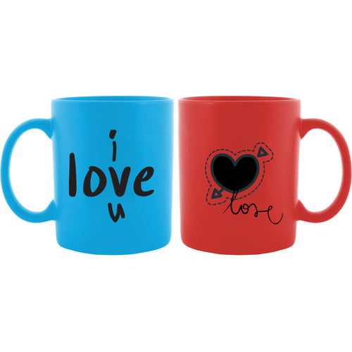 I Love You Couple Blue & Red Mug - Set of 2