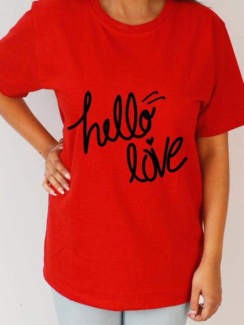 Hello Love #3 Red Premium T- Shirt