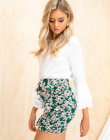 Dixie Mini Skirt - Dark Green and Beige Floral High Waisted Mini Skirt - Women's Skirt - Charcoal Clothing