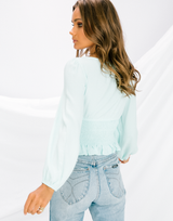 Infinite Feeling Top (Mint) - Mint Blue Long Sleeve Top - Women's Top - Charcoal Clothing
