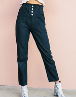 Layland Paperbag Jeans (Black) - Black High Waisted Jeans - Women's Pants - Charcoal Clothing