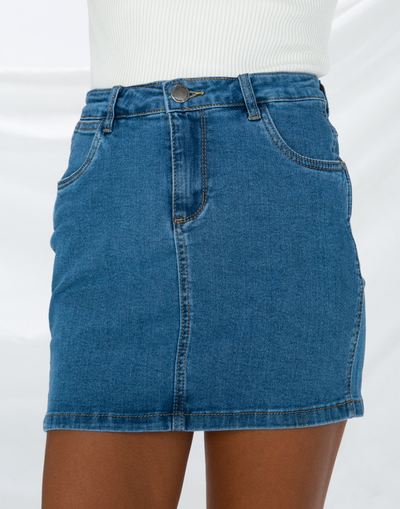 Overload Denim Mini Skirt (Blue)
