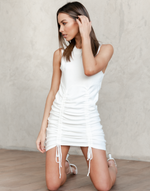 Emily Mini Dress - Basic White Knit Dress - Women's Dress - Charcoal Clothing