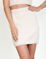 Brigitta Mini Skirt - Beige Knit Bottoms-Charcoal Clothing-Women's-Skirt