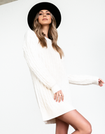 Raleigh Knit Dress - Cream Sweater - Women's Dress - Charcoal Clothing