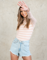 Brinley Top - Pink Stripe Skivvy - Women's Top - Charcoal Clothing