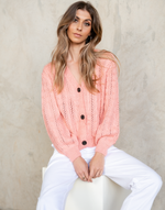 Sweet Rose Knit Top - Pink Cardigan - Women's Top - Charcoal Clothing