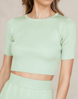 Amari Knit Top - Sage Ribbed Crop-Charcoal Clothing-Women's-Top