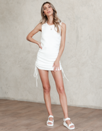 Chicago Mini Dress - White Knit Mini Dress with Rouched Sides - Women's Dress - Charcoal Clothing