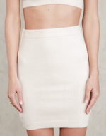 Brea Mini Skirt - Beige Knit Bottoms - Women's Skirt - Charcoal Clothing