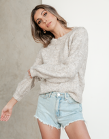 River Knit Jumper - Neutral Brown Sweater - Women's Top - Charcoal Clothing
