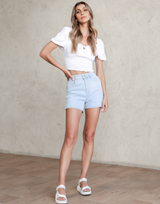 Heart Line Denim Shorts (Light Blue) - Light Blue High Waisted Shorts - Women's Shorts - Charcoal Clothing
