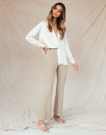 Pale Sun Pants (Mocha) - Neutral Knit Flare Bottoms - Women's Pants - Charcoal Clothing