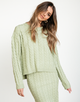 Kylie Knit Jumper - Sage Green Pullover Sweater-Charcoal Clothing-Women's-Top