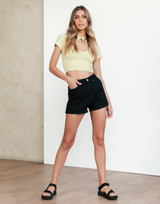 Maxwell Crop Top (Sage) - Sage Green Ribbed Crop Top - Women's Top - Charcoal Clothing