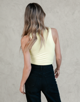 Aubree Crop Top - Yellow Rouched Sleeveless Top - Women's Top - Charcoal Clothing
