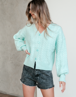 Kamryn Knit Top - Blue Cardigan - Women's Top - Charcoal Clothing