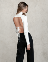 Melrose Backless Top - White Skivvy - Women's Top - Charcoal Clothing