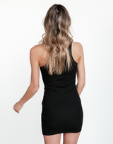 October Mini Dress (Black) - Basic Black Bodycon - Women's Dress - Charcoal Clothing