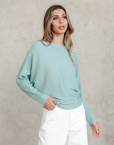 Affirmation Knit Top - Teal Ribbed Knit Long Sleeve Top - Women's Top - Charcoal Clothing