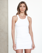 October Mini Dress (White) - Basic Bodycon - Women's Dress - Charcoal Clothing