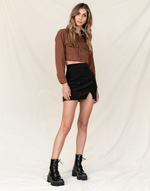The Mickey Jacket - Brown Denim Cropped Jacket - Women's Jacket - Charcoal Clothing