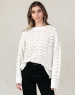 Minnie Knit Top - Cream Sweater - Women's Top - Charcoal Clothing