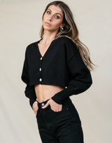 Stockholm Knit Cardigan (Black) - Basic Top - Women's Top - Charcoal Clothing