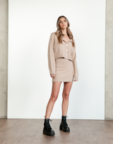 Aria Knit Set - Brown Long Sleeve Top and High Waisted Mini Skirt - Women's Set - Charcoal Clothing