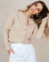 Astro Knit Top - Neutral Camel Coloured Cardigan-Charcoal Clothing-Women's-Top